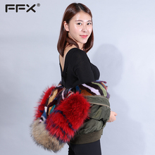 EACHOO wholesale clothes womans fashion European design newest ladies suitable Italy mink raccoon fur parka jacket