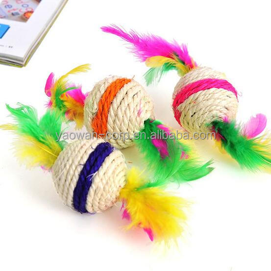 2017 wholesale cat toys bulk cat toys cat toy ball with feather