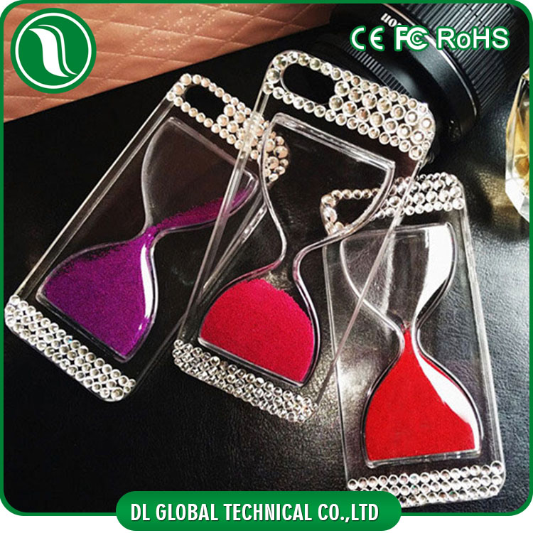 Mobile phone accessories wholesale PC crystal hourglass back cover case with rhinestone decoration phone cases for iphone 6