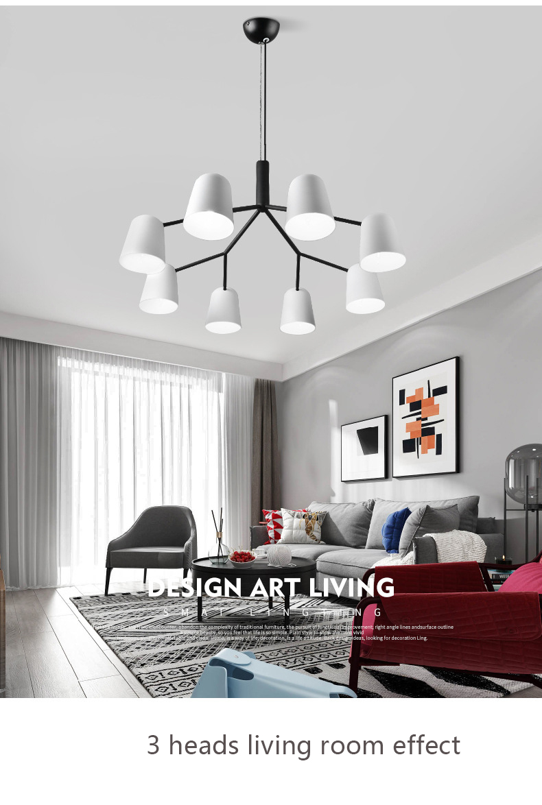 Nordic modern wind hotel engineering family living room bedroom white chandelier