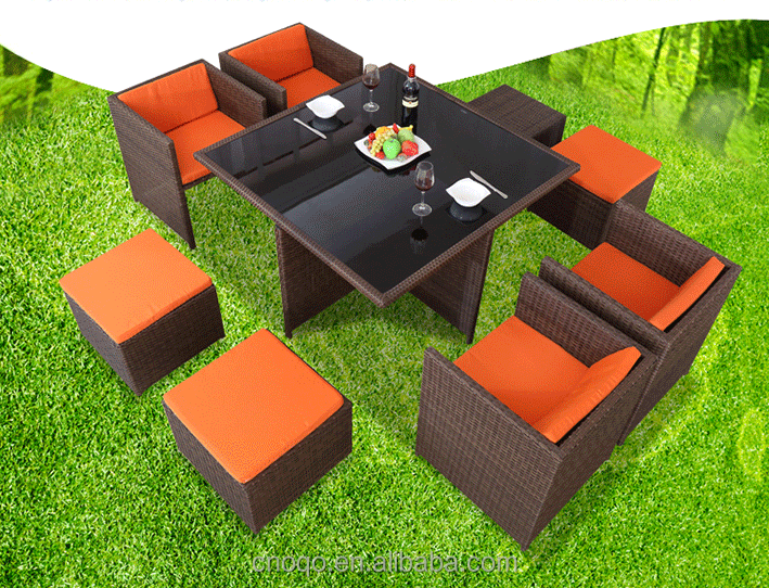 8 seater 1 table collapsible outdoor furniture PE imitation rattan products