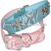 Blue PU leather dog collar,pet collar for dogs, different size and color for choice