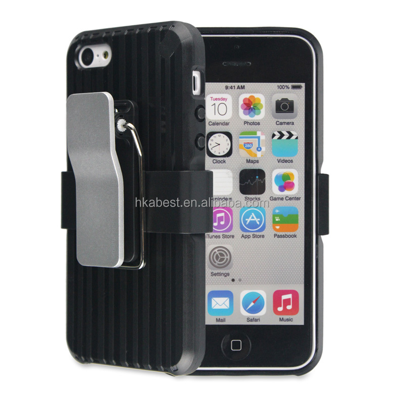 BC-05 2014 hot selling mobile phone cases for i5, belt metal clip cases with holster and stand for iPhone 5s