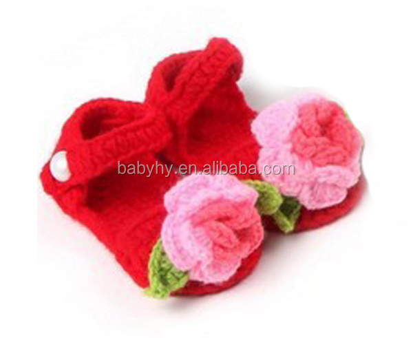 MOQ 1 Pair hand knitting fancy baby crochet wool shoes sandals