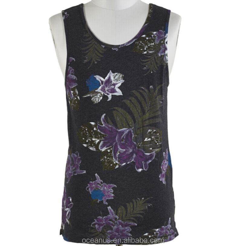 100% Cotton Printed Knit Jersey Tank Top