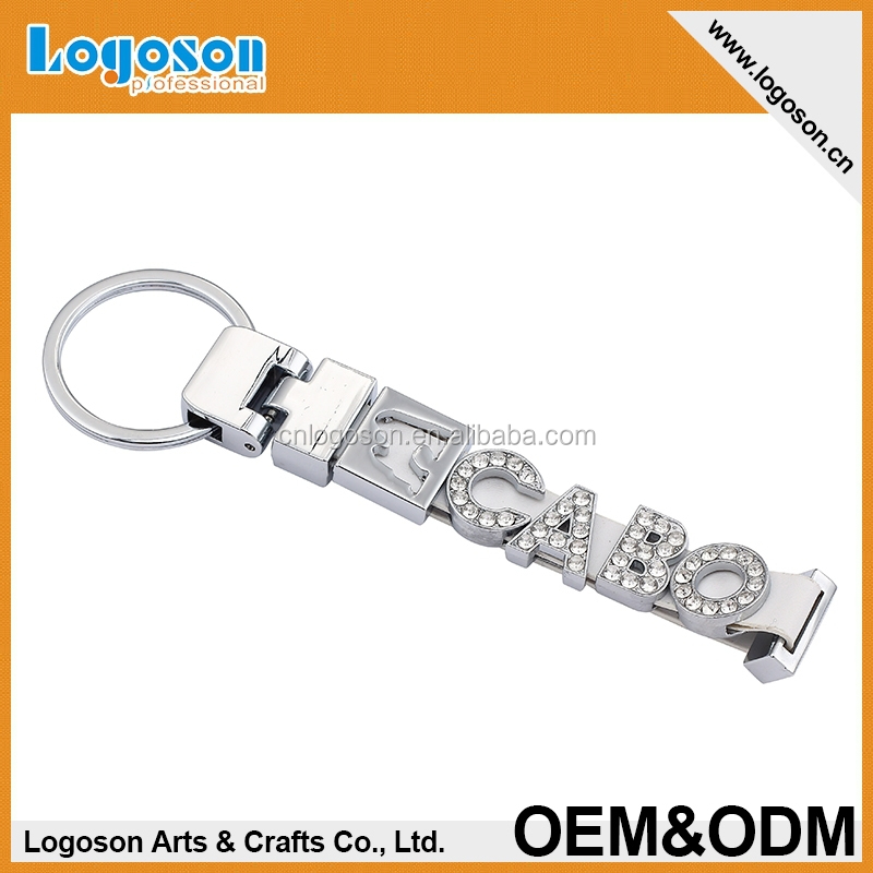 tourist souvenirs promotional items alphabet key chain rhinestone silver finish keychain