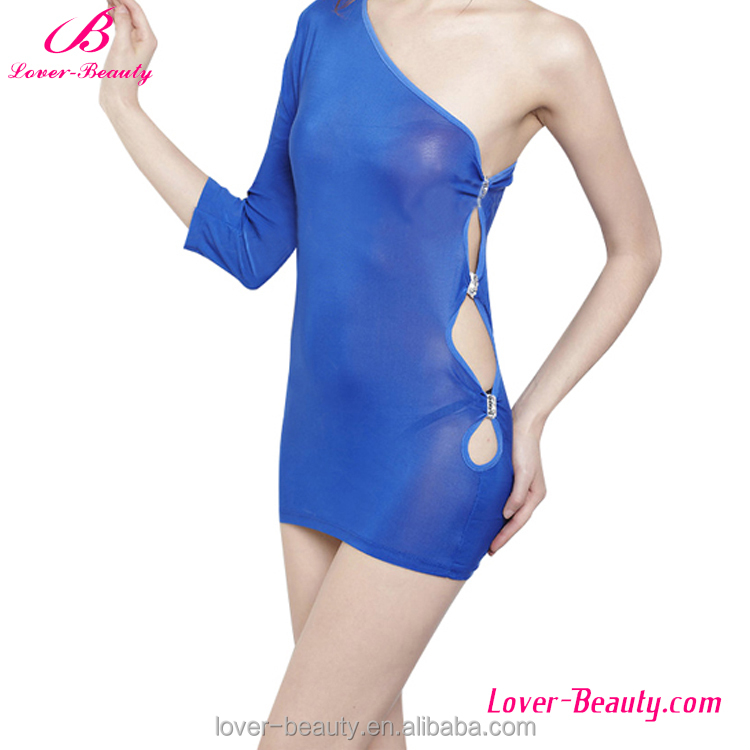 Wholesale One Shoulder Open Side Blue Night Dress