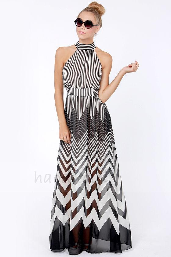 China supplier spaghetti strap fashion lady apparel/ zig zag chevron maxi dress/ full lining thailand wholesale maxi dress