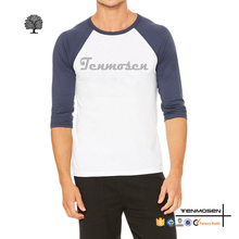 Wholesale men sports t-shirt custom print raglan 3/4 sleeve baseball t shirts