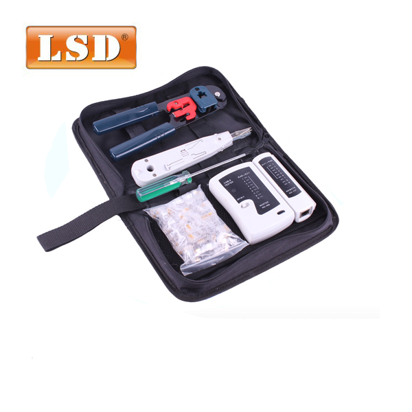 RJ45 network tool kit LS-K208M including network cable tester Crystal heads and punch down tool pc repair hand tool set