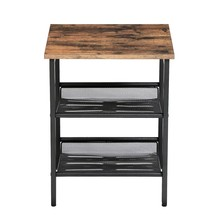 SONGMICS Industrial narrow side table living room <strong>furniture</strong> modern with Adjustable Mesh Shelves