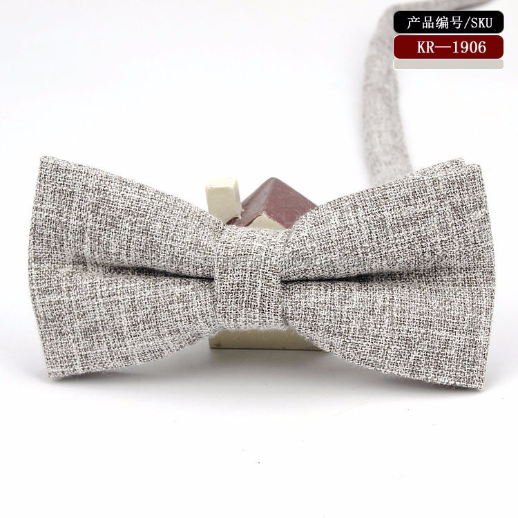 New fashion plain dye 100% cotton Casual bow tie for men