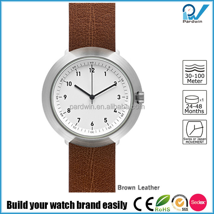 Brushed steel case stainless steel 3ATM water resistant brand watch china made