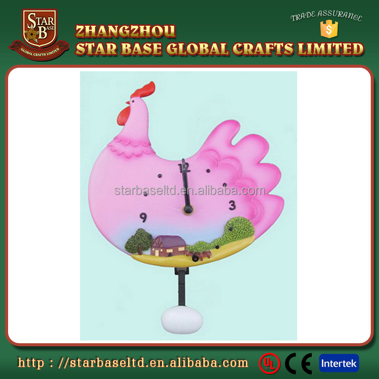 Cute eco-friendly resin chicken design wholesale different types of wall clocks for wholesales