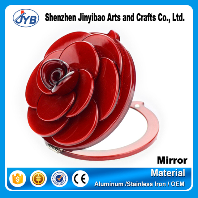 beautiful design red rose 3D flower shaped cosmetic makeup mirror