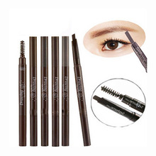 Double head automatic eyebrow pencil waterproof anti-sweat eyebrow pencil with eyebrow brush