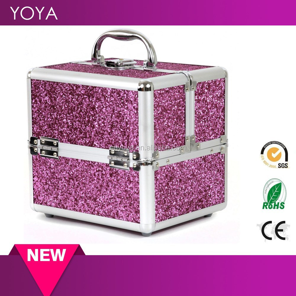 Bling Bling Aluminum Makeup Train Case for Makeup Jewelry Nail Polish,beauty kit case
