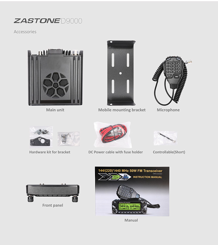 High quality Car mobile woki toki ZASTONE D9000 dual band mobile transceiver with large LCD display