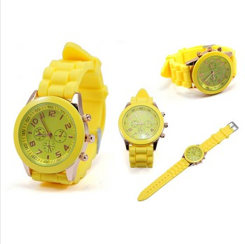 Fashion Geneva Crystal Watch Jelly Gel Silicon Girl Women's Quartz Wrist Watch Candy Colors