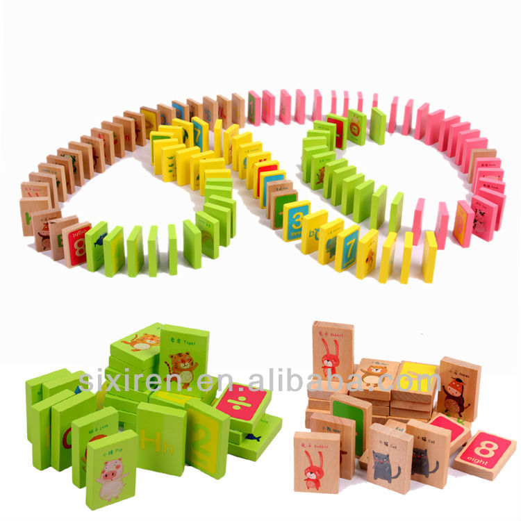 fashion cheap educational wooden toys/ 100 piece domino