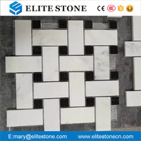 Basket Weave Black Dot White Marble Mosaic Tile