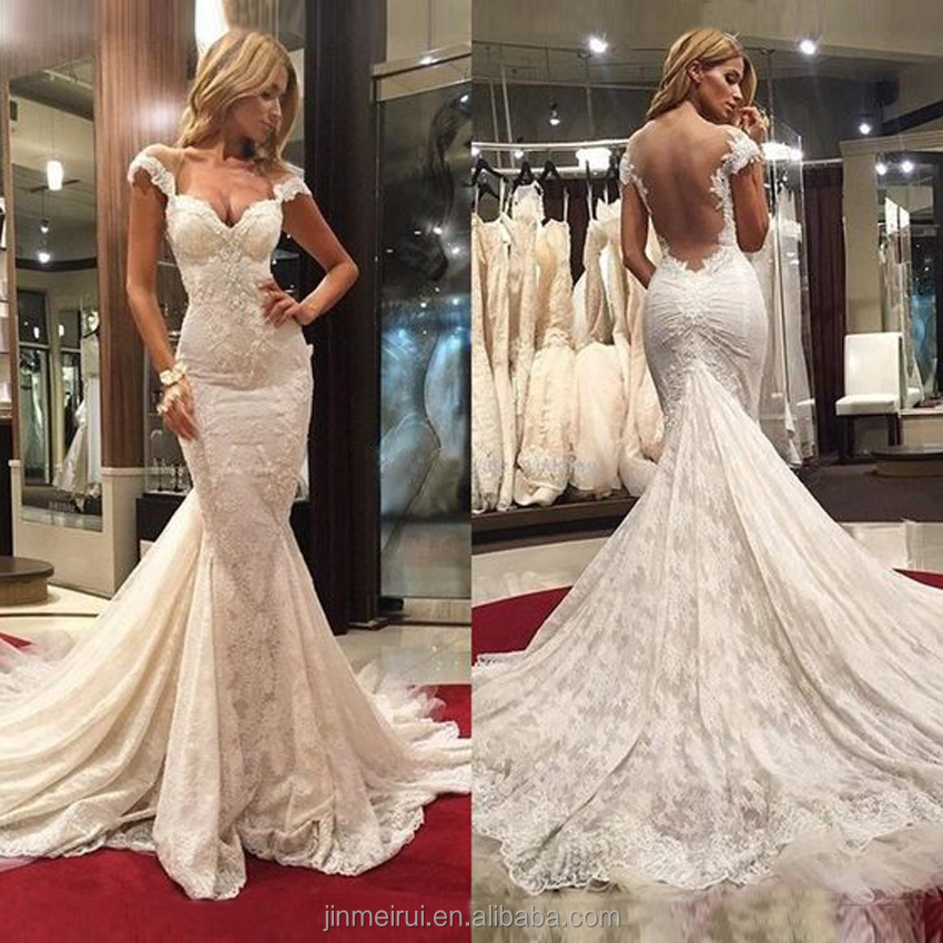 Free shipping High quality Off White French Lace Mermaid Wedding Dress 2017 Court Train Bridal Gowns Dubai Wedding Corset Dress