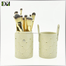 High grade white makeup brushes holder 12 pcs cosmetics brushes sets with PU leather cases