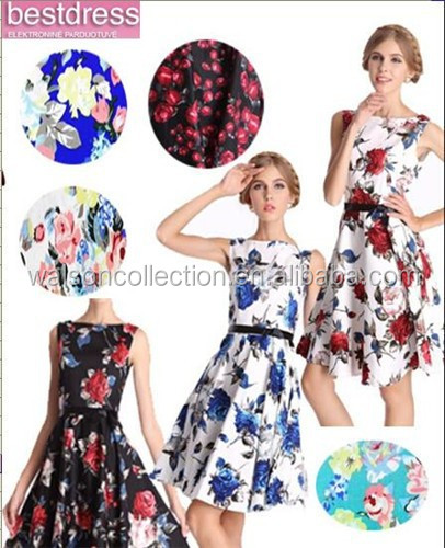2015 Vintage 1950s 60s rose floral Retro Rockabilly Evening Party Dress uk 8-24