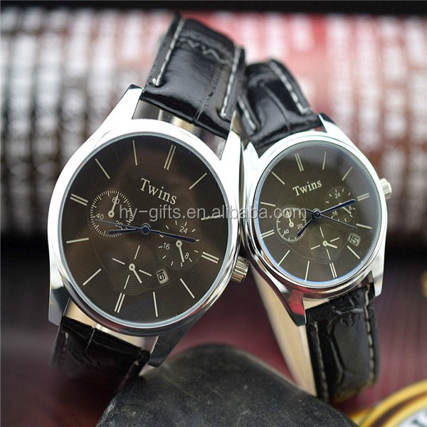 Quartz Top quality leather watch calendar couple wrist watch