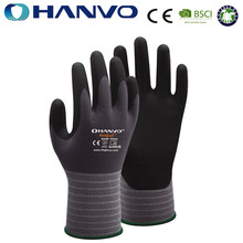 Wholesale HANVO Brand micro foam nitrile coated gloves with soft hand feeling