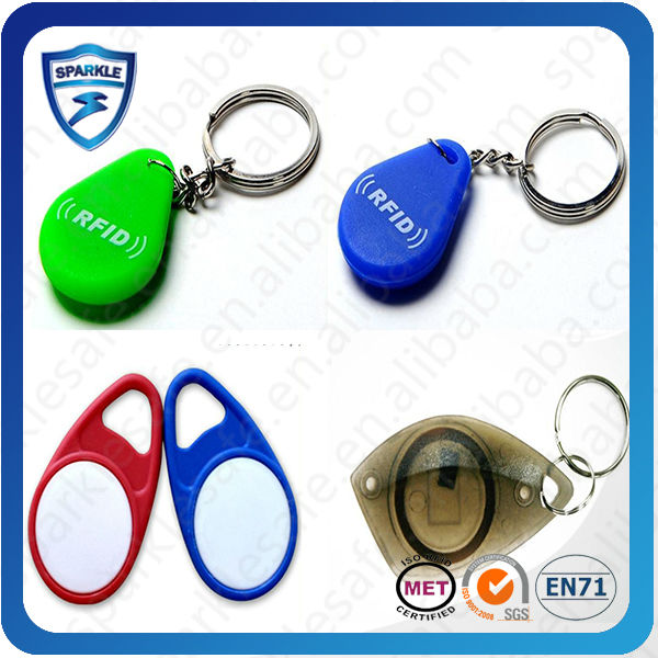 Contectless passive printable metal chain PVC/Silicone rfid key tag