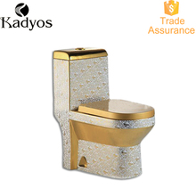 Modern gold color toilet one piece ceramic bathroom golden wc
