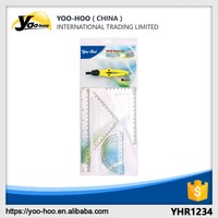 Plastic drawing ruler set with compasses