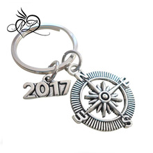 "Good Luck on the Path Ahead of You Open Metal Compass Keychain with ""2017"" Charm, Graduation Gift Keychain"