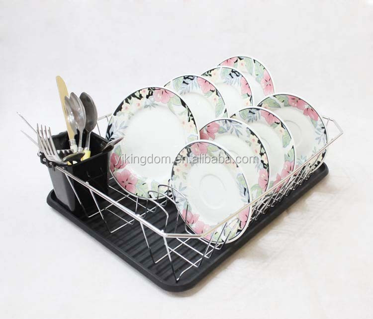 Metal Dish drying Rack with drain Mat