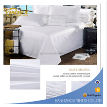 Supply 500T 100% Cotton high quality white sateen hotel bed sheet sets