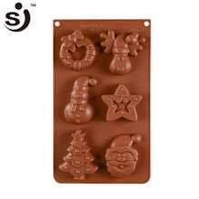 6 Cavity Christmas Microwave Oven Baking Tool Magnetic Silicone Chocolate Mould Jelly Pudding Mould Maker