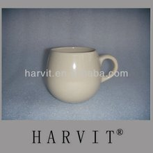 Dual Mould Camber Shape Cream Colored Porcelain Stoneware Coffee Mug