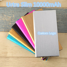 Custom Logo Power Bank 10000mah Ultra Slim Dual USB External Mobile Battery Charger Built-in LED Touch Screen