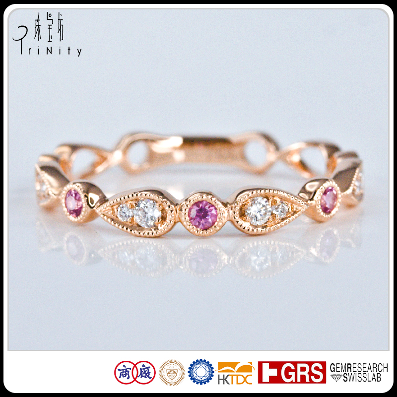 Vintage Gems Jewelry 14K 18K Rose Solid Gold Natural Round Cut Pink Sapphire and Diamond Art Deco Ring