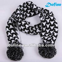 double layer jacquard knit scarf with Pompom