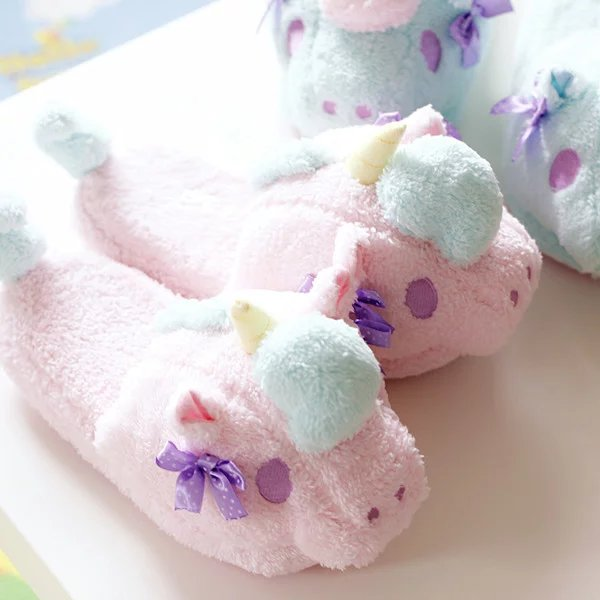 Plush cute 1 pair cartoon Little twin stars unicorn soft soled funny winter lady home floor slippers warm holiday toy girl gift