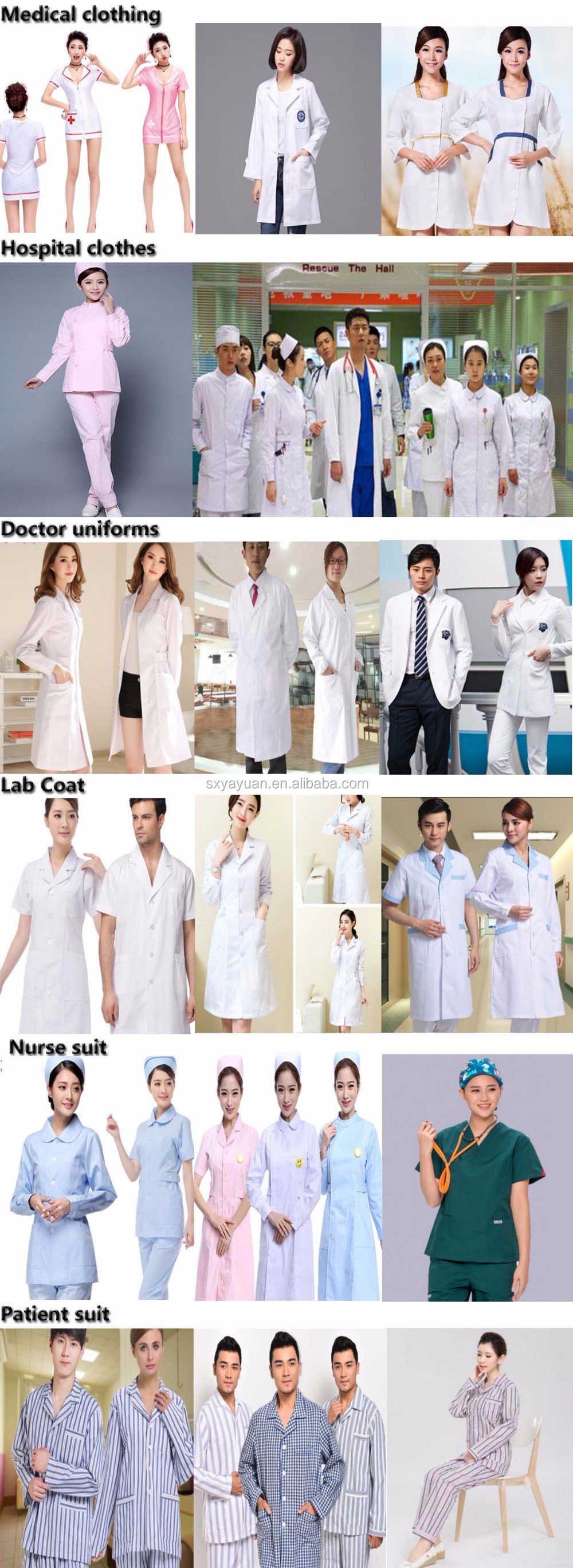 Breathable fabric men and women's doctor short sleeves hospital white coat