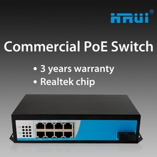 48 hours testing 1000M gigabit switch hub 8 port poe with rack mount with 130W internal power adapter