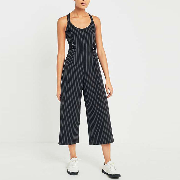 OEM ODM Professional clothing manufacturer supply pinstripe wide leg culottes women fashion jumpsuit