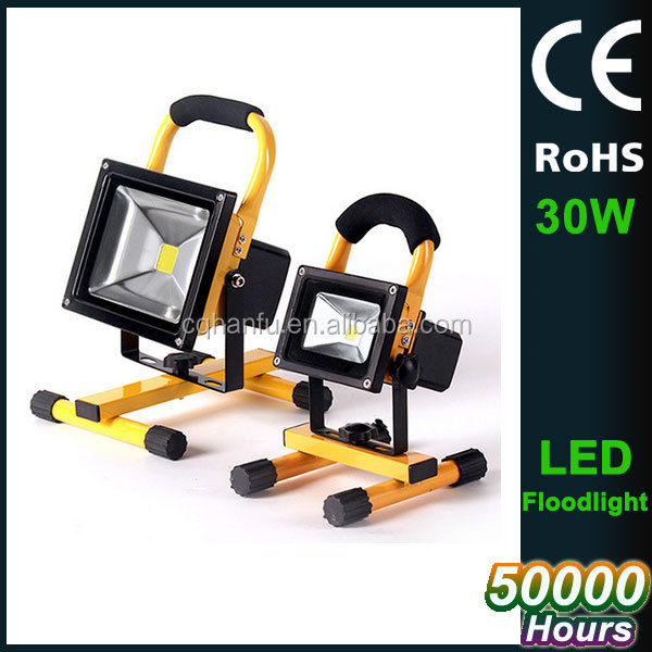 led light flood 6000K rechargeable 30W IP65 battery lamp