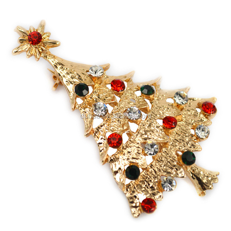 Christmas Brooch Pin Vintage Christmas Tree Pin Holiday Brooch Xmas Gift