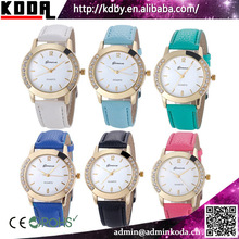 Fashion Diamond Colorful Leather Strap Geneva Watches Water Proof