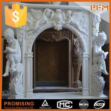well polished natural wholesale hand carved mirrored wall yellow fireplace