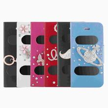 Big Sales Double View Screen Window Flip Case Cover Bling Diamond Rhinestone PU Leather for iPhone 5S 5G 5C Stand Magnetic Clip